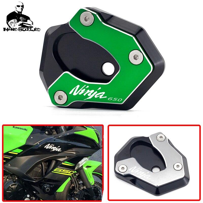 Accesorios de motocicleta CNC pie de apoyo soporte lateral para Kawasaki Ninja 650 2017-2019 2018 placa de soporte de extensión de la almohadilla