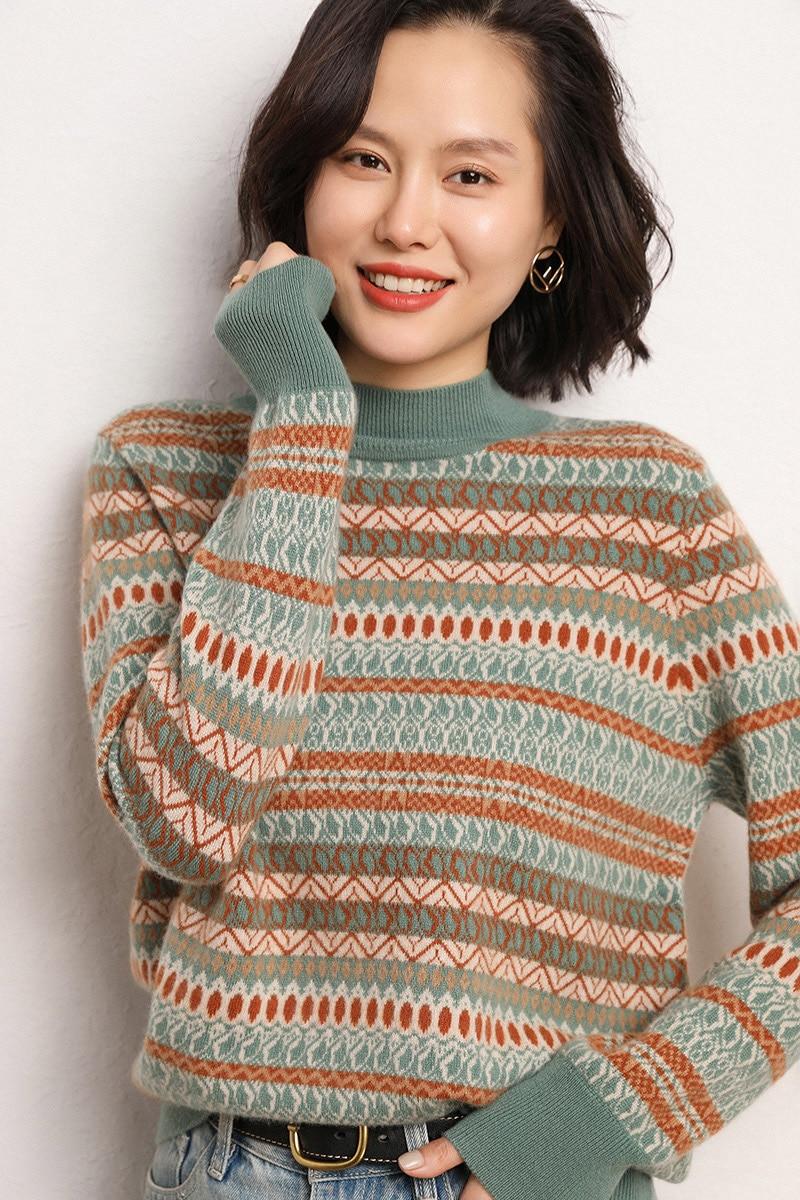 100% Cashmere Sweater O-neck Knitting Jumper Long Sleeve Women Autumn Winter Sweater Female Thickening Women's Warm Sweater enlarge