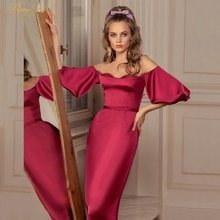 Red Satin Sheath 1/2 Puffy Sleeves Mother Of The Bride Dress Long Off Shoulder Bead Bodice Vestido D