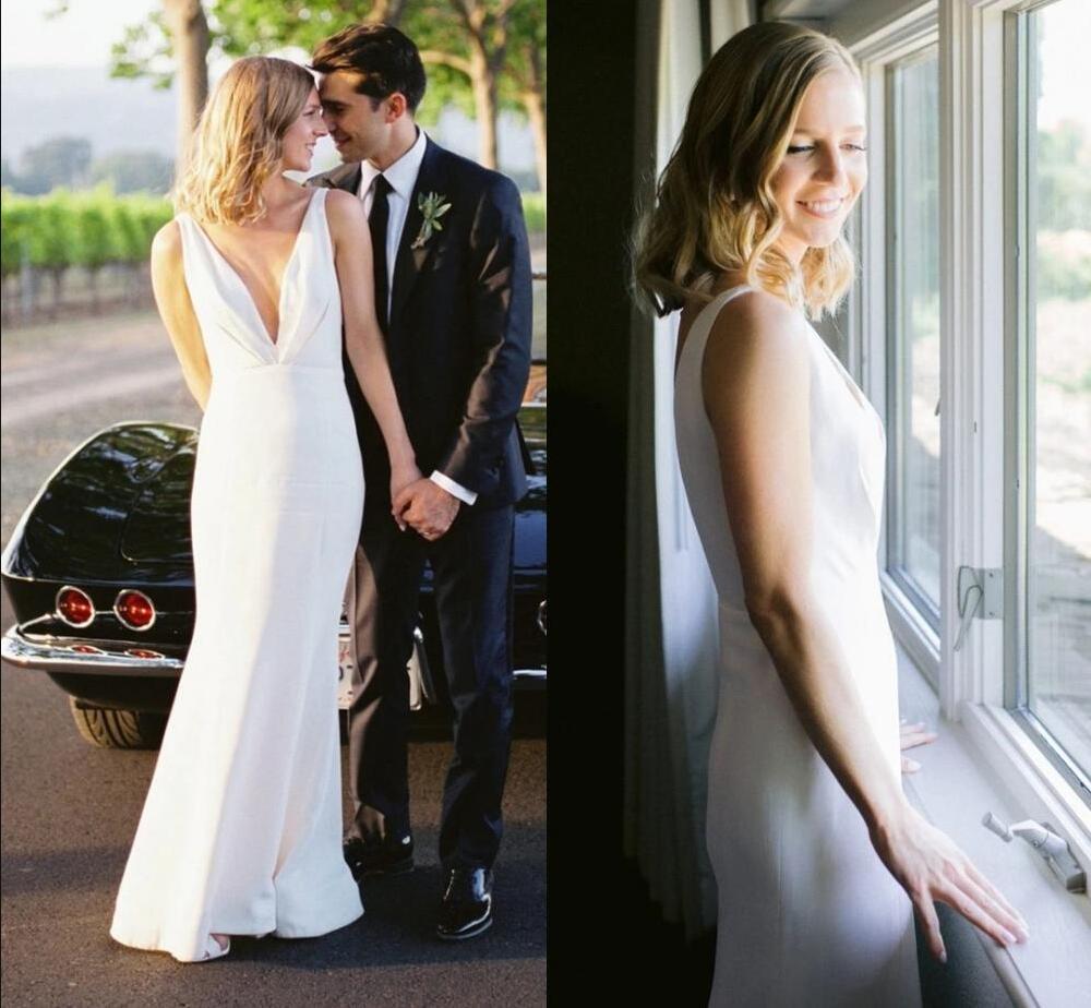 Vestidos de novia elegantes de sirena con escote en V profundo sin espalda hasta el suelo, plisados sencillos, para jardín, playa, vestidos de novia, para el hogar, para el 2021