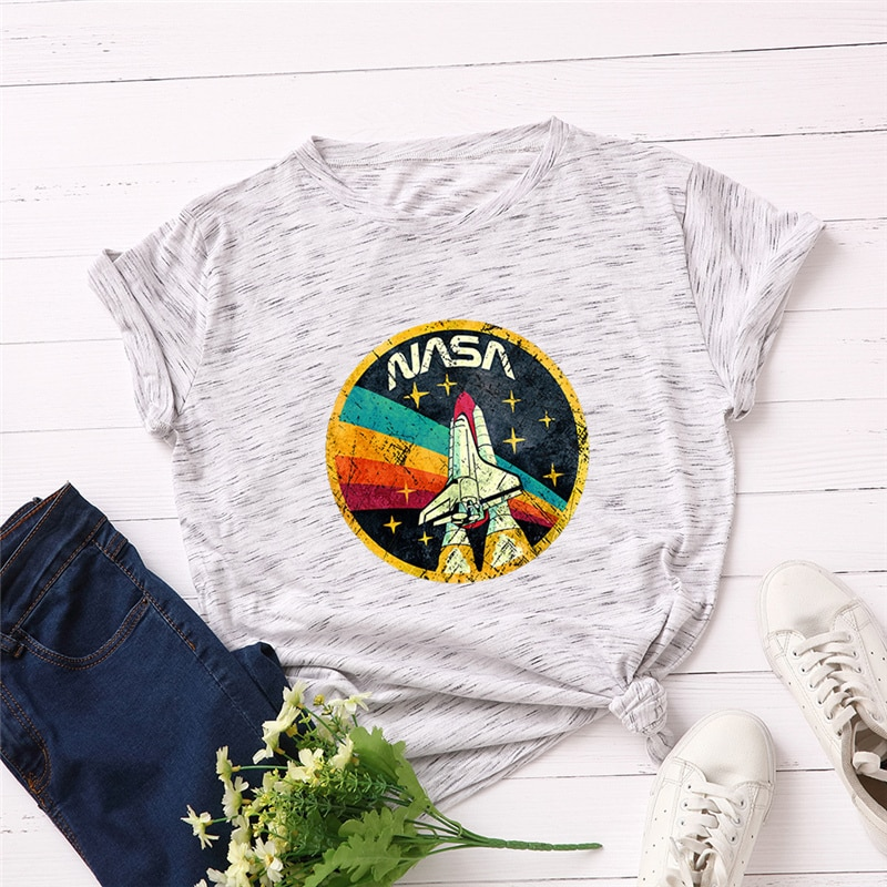 Женская футболка с принтом ракеты размера плюс S-5XL, 100% хлопок, футболки с круглым вырезом и коротким рукавом, летняя футболка, топы, футболки,...
