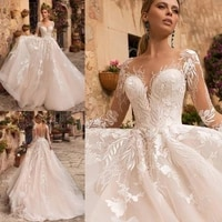naviblue 2021 wedding dresses sheer neck long sleeve lace bridal gowns robe de middle east custom beach dress