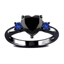 Fashion Romantic Heart Rings Charm Black-Blue Crystal Rhinestones Finger Ring For Women Wedding Party Girl Gift