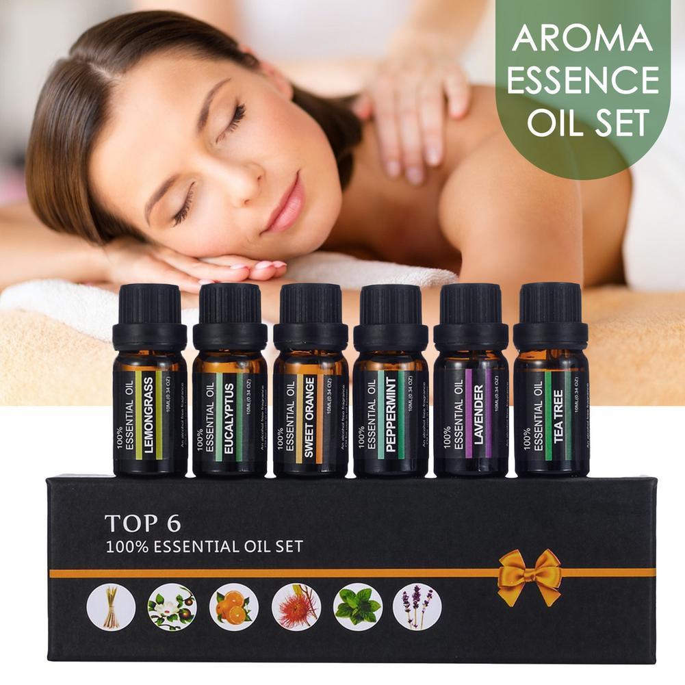10ml Pure Essential Oils 6pcs Gift Set Plant Aroma Essential Oil Diffuser Eucalyptus Vanilla Mint Lemongrass Lavender Oil недорого