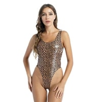 summer patent leather bodysuit women clothes fashion slim leopard print catsuit sleeveless high cut bodycon tight jumpsuit new