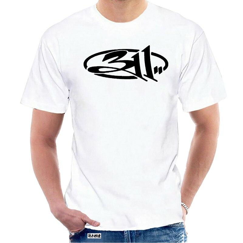 T Shirt Sommer Mode Casual Männer s 311 Band Logo Einfache Grafik Design Hemd Baumwolle Kleidung Phantasie Tops Schwarz Grau 5620W