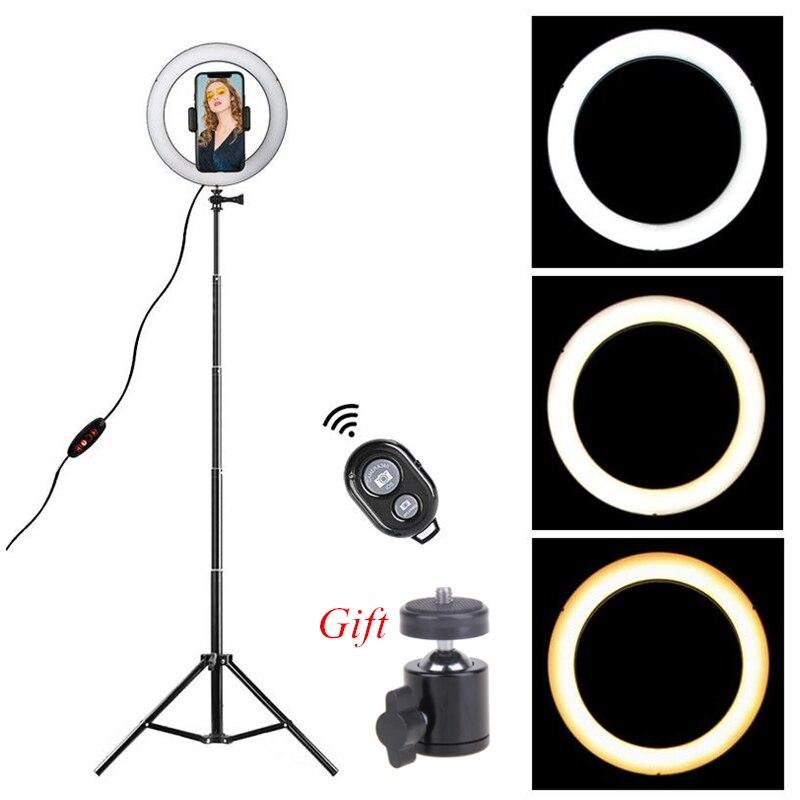 Anillo de luz LED 8,6 pulgadas Cámara Ringlight trípode soporte para teléfono YouTube Tiktok fotografía foto y vídeo lámpara de estudio Kit