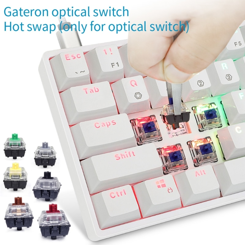 SK61 Gk61 Portable 60% Mechanical Keyboard Gateron optical Switches Backlit Hot swap Q9QC enlarge