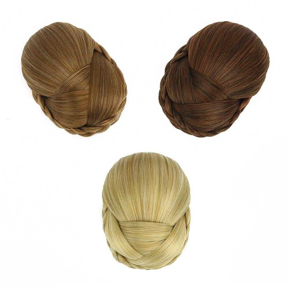 Belleza sintético moño trenzado rubia Marron pelo cubierta de moño Clip en...