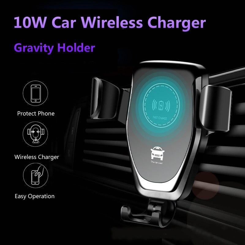 10W Qi cargador inalámbrico para coche de carga rápida soporte para teléfono inteligente para IPhone 11 Pro max 8 Plus XS max xs Samsung S8 S9 S10