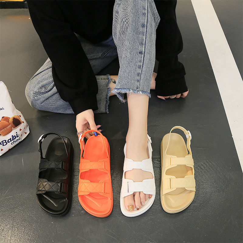 الصيف المرأة الصنادل اللمحة تو أحذية Pve الرومانية موضة الأسود الشقق الفيلكرو بلون منصة أحذية نسائية حجم 36-40