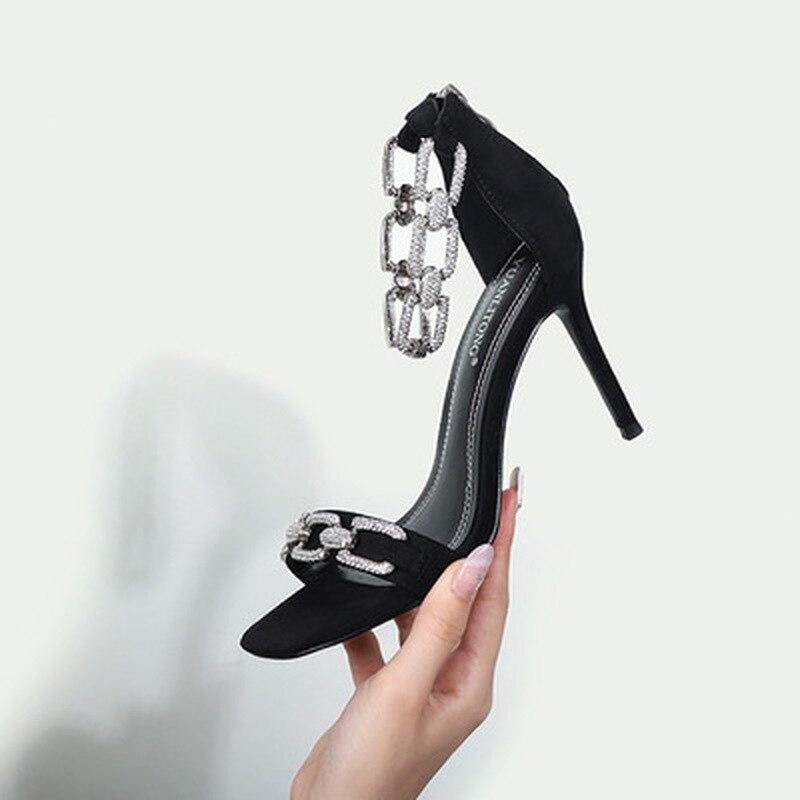 2020 Star style Rhinestones chains Women Sandals Fashion Thin High heels Zip Gladiator Sandals Elega