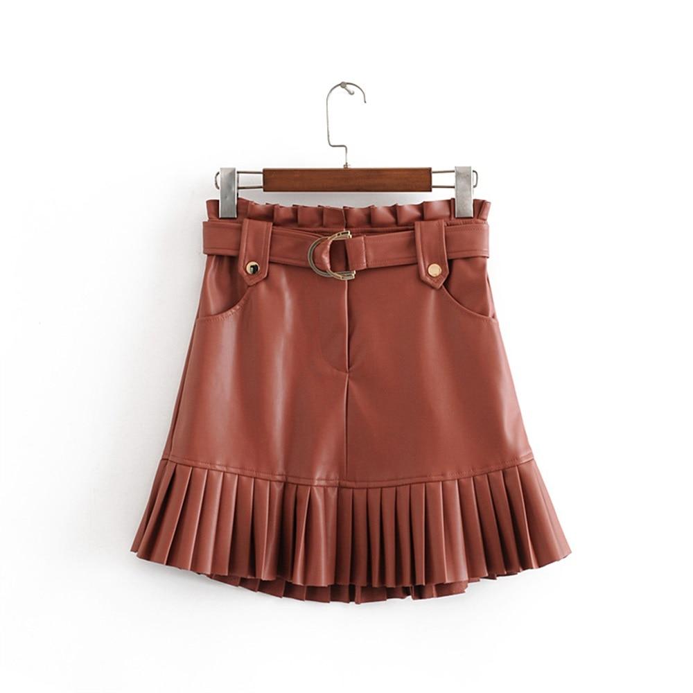 Новая модная трендовая Осенняя женская одежда 2019 маленькая плиссированная мини-юбка из искусственной кожи
