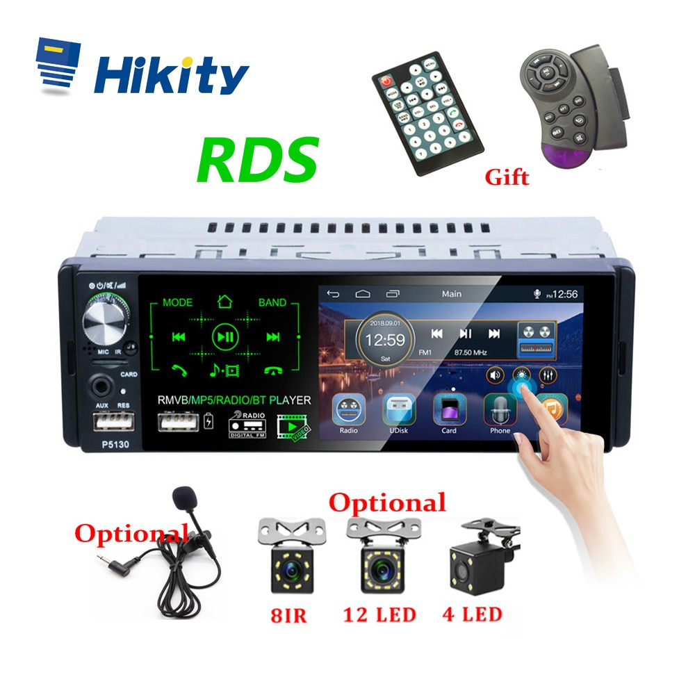 Car Radio MP5 Player 1 Din P5130 Autoradio 4.1 Inch Touch Screen Car Stereo MP5 Player Bluetooth RDS Support Dual USB Microphone 7 hd touch screen 12v car stereo player 7010b car radio autoradio mp5 fm bluetooth mirror link 2 din car radio stereo receiver