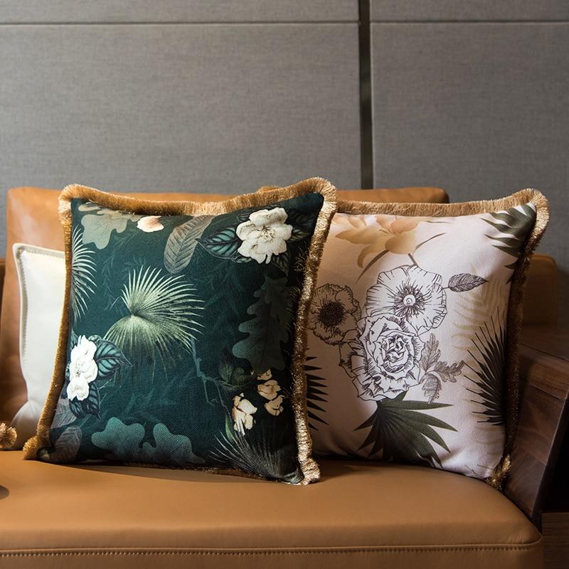 30x5 0/45x4 5/55x55cm retro light Camelia de lujo funda de cojín con patrón borla verde fringe funda de almohada lumbar sofá