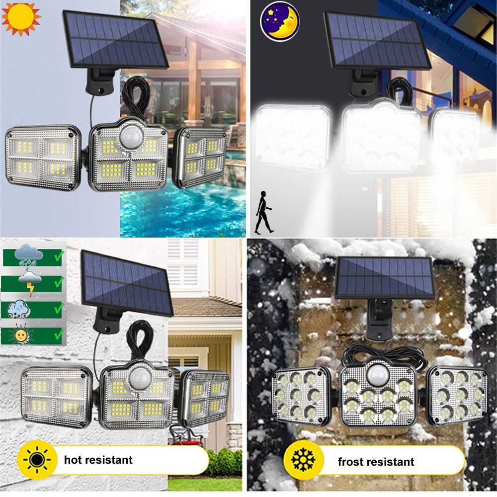 3pcs 138 led remote seperable Solar Light Outdoor Motion Sensor Solar Powered Garden Street Wall lamp 3 Head Waterproof 5M cable enlarge