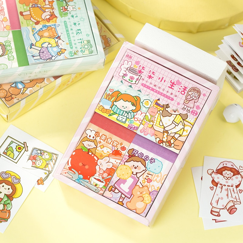 4 pçs/lote coleção série de artigos de papelaria decorativos livro adesivos kawaii menina scrapbooking diário diy álbum vara lable