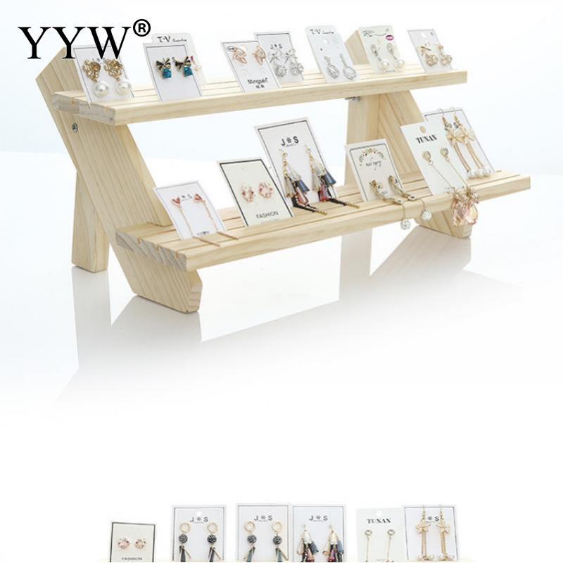 Wooden Earrings Cardboard Stand Stall Live Jewelry 2-5 Floors Storage Shelf Hand Office Display