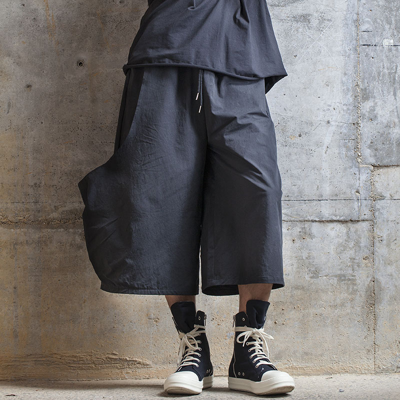 الرجال نمط جديد لا يسمى جيب كبير تصميم كلاسيكي الظلام شخصية عادية بنطال ذو قصة أرجل واسعة