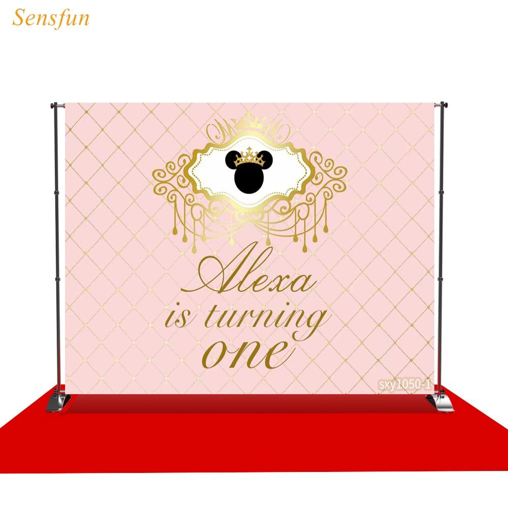 Sensfun fondo fotográfico marco dorado hilo de seda Minnie crown foto de estudio impreso shoot prop tela de vinilo