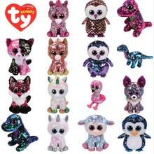 Ty Flippables peluche Animal Sequin doux en peluche chat hibou renard lapin licorne flamant rose mouton Dragon chien pingouin jouets 15cm