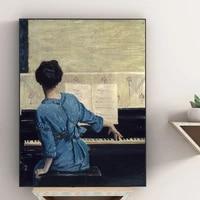 Dame elegante jouant Piano Figure peinture mode Style retro mur Art toile sur le mur photos pour salon decor a la maison