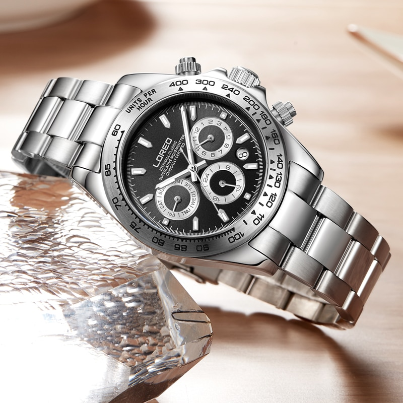 LOREO ساعة رجالي التلقائي الفولاذ المقاوم للصدأ ساعة ميكانيكية الأسود الهاتفي الرياضة مقاوم للماء مضيئة التقويم الأسبوع الرجال الاتجاه