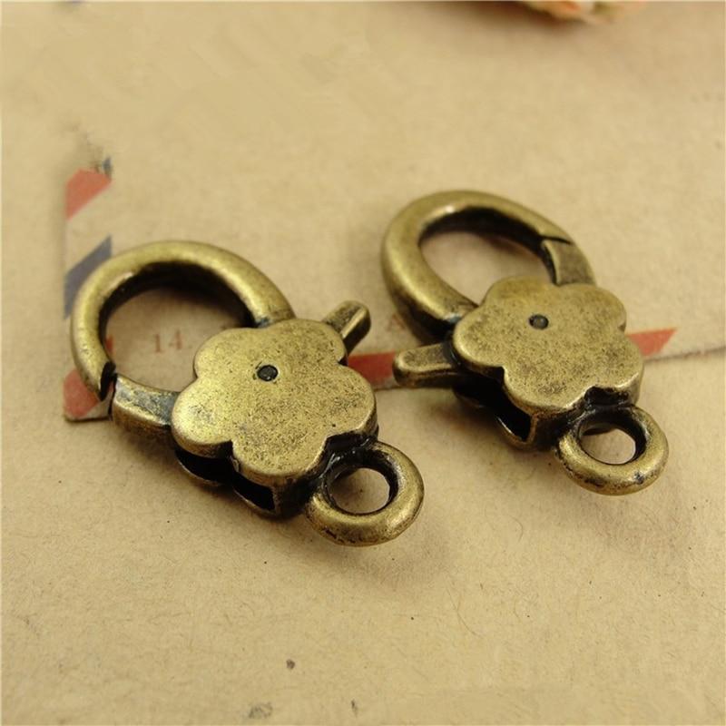 10 unids/lote ganchos de broche de langosta en flor de ciruelo de plata antigua para collar pulsera cadena accesorio de joyería para manualidades resultados 16*27MM