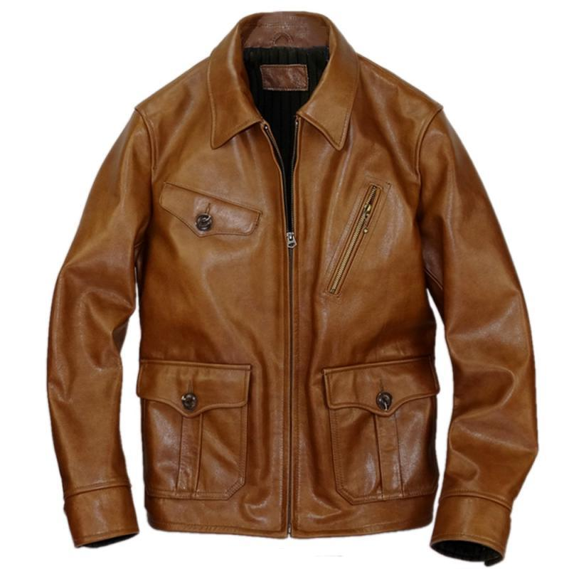 2020 Brown Men American Casual Style Jacket Plus Size XXXL Genuine Cowhide Autumn Slim Fit Leather Coat FREE SHIPPING