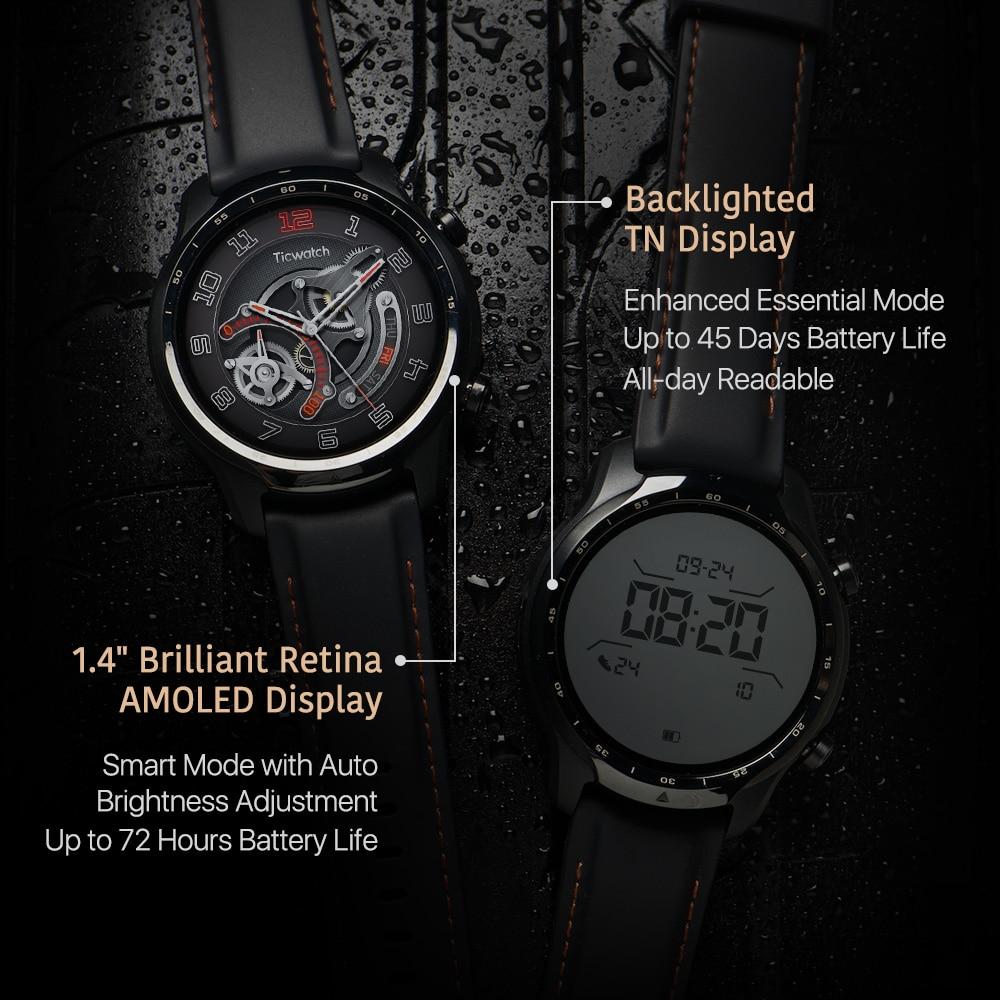 TicWatch Pro 3 GPS Wear OS Smartwatch Men's Sports/Smart Watch Dual-layer Display Snapdragon Wear 4100 8GB 3 to 45 Days Battery