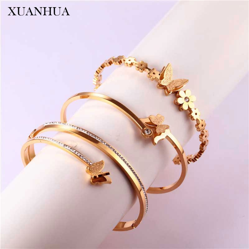XUANHUA, brazalete de mariposa de oro rosa, brazalete, brazaletes para mujer, joyería de acero inoxidable, accesorios de mujer, envío gratis