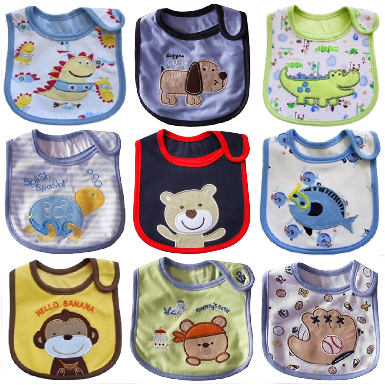 9 Pcs Waterproof Baby Bibs 100% Cotton Bib Feeding Scarf Print Cartoon Bibs For Children Boy Girl Newborn Bandanas Burp Cloths