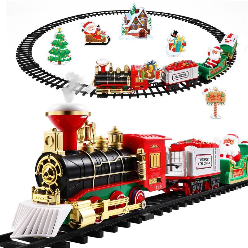 Игрушечный Рождественский поезд, строительная стена со светильник светлые железные дороги для детей, подарок под рождественскую елку