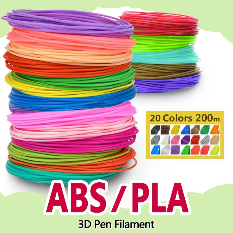 Pla/abs 1,75mm 20 colores 3d bolígrafo filamento pla 1,75mm filamento abs plástico pla arco iris