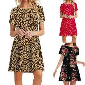 Dress Summer 2021 Fashion Sexy Women Casual Dresses Short Sleeve O-Neck Printed Ladies Loose Mini Short Dress