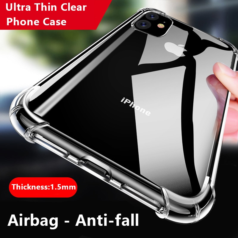 Clear Phone Case For iPhone SE 2020 Case Silicone Ultra Thin Back Cover For iPhone 11 12 Pro XS MAX