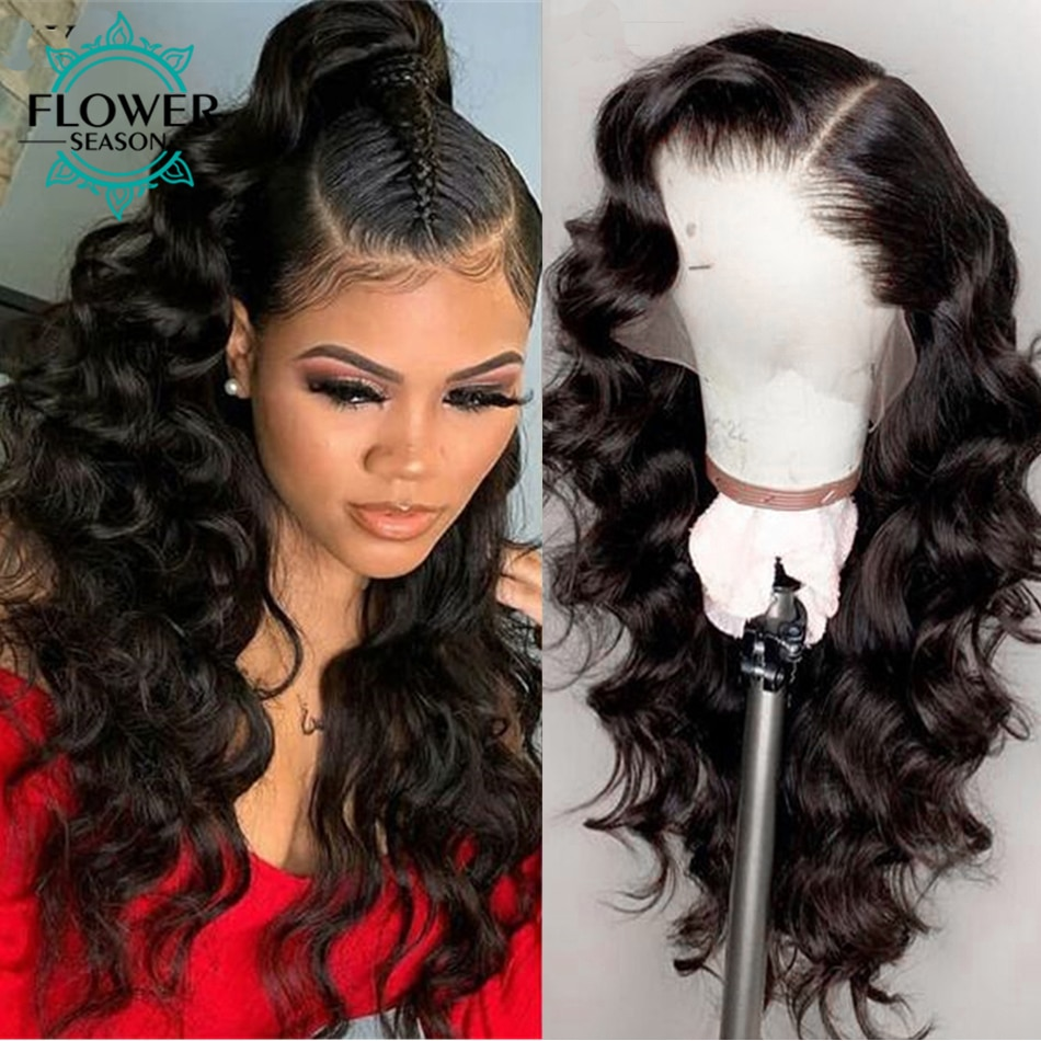 Loose Wave 13x6 Lace Front Wig HD Lace Frontal Wig 180 Density Transparent Lace For Women Remy Peruvian Human Hair Flowerseason