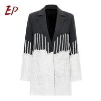 ep female 2021 fashion new hit color patchwork women winter coats lapel collar long sleeve knitting jacket elegant