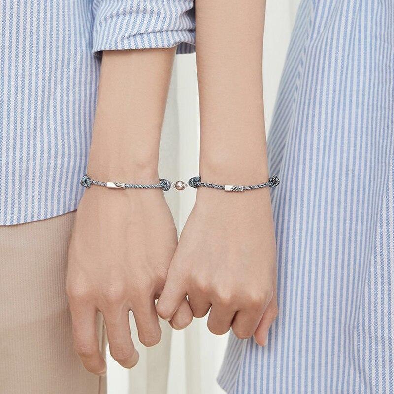 2 uds pulsera de pareja amor Token amistad cuerda trenzada distancia joyería magnética para amantes amigos hermanas BMF88