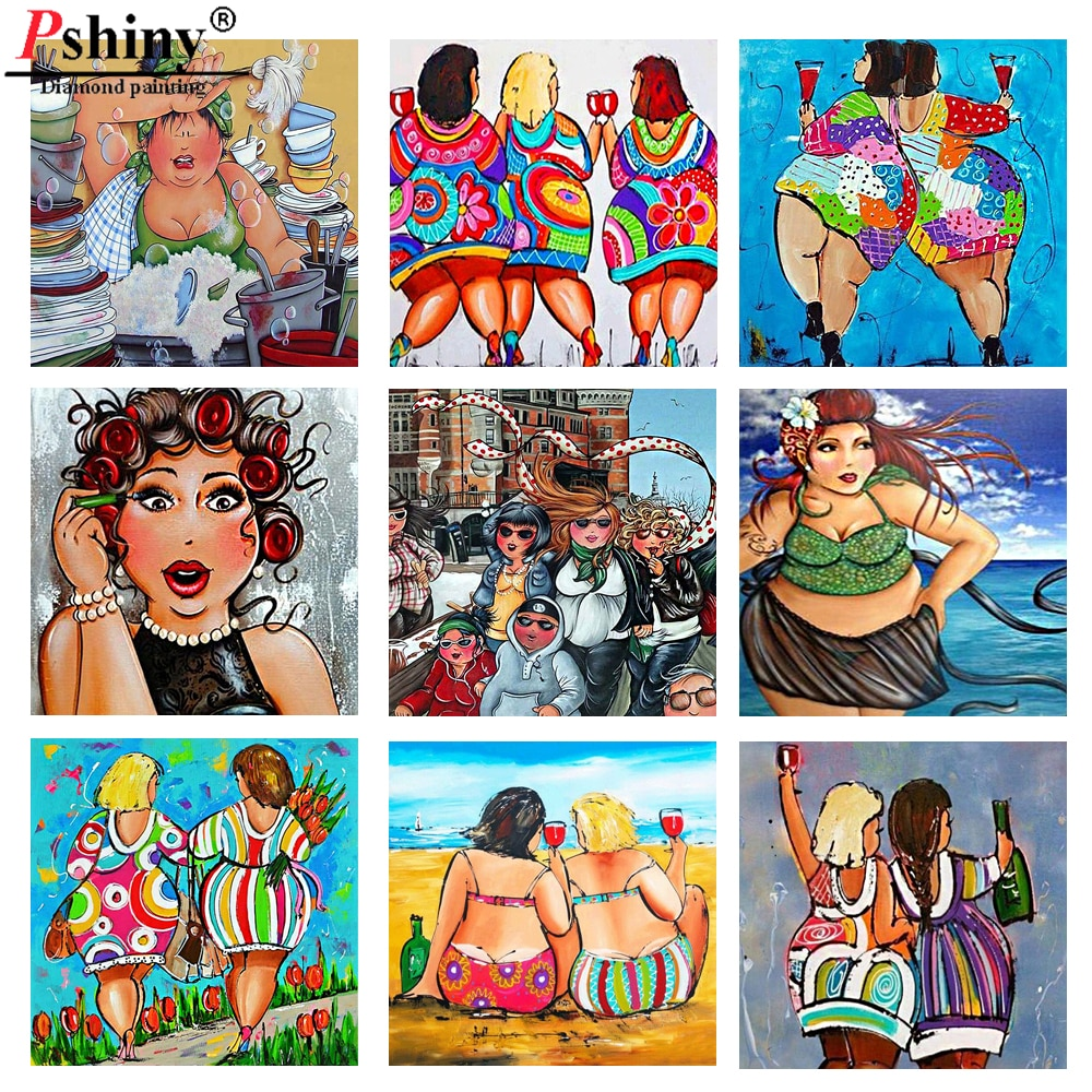 Pshiny, cuentas cuadradas completas 3d, pintura de diamantes de mujer regordeta DIY, bordado de diamantes, dibujos animados, conjunto de cómic, punto de cruz para mujer, costura F703