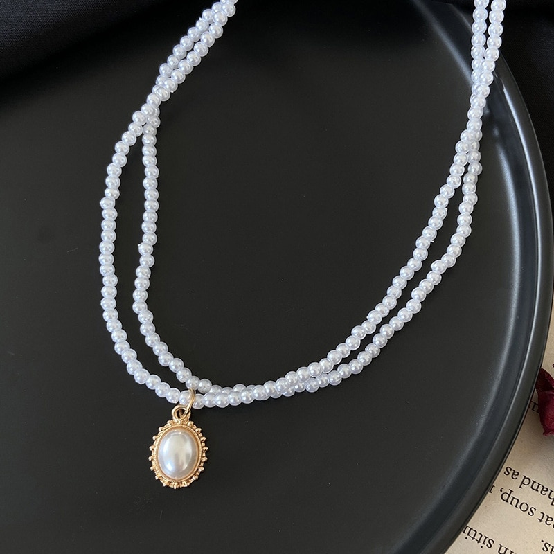 White Pearl Mask Chain Round Pearl Pendant Double Necklace Sunglasses Necklace Mask Chain Give for W