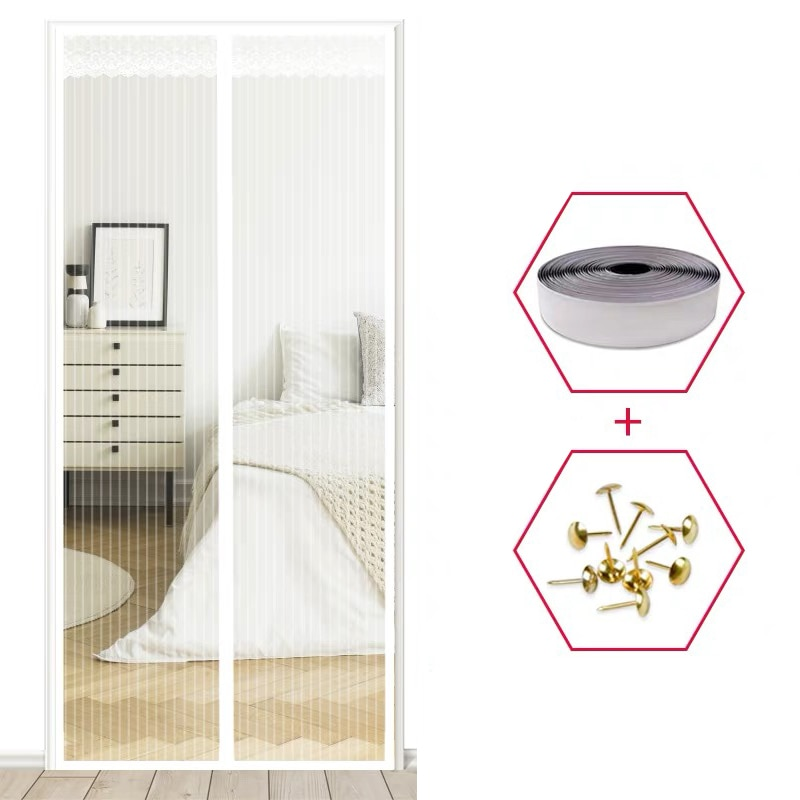 Mosquitera Para Puerta de alta calidad, cortina magnética mágica antimoscas, antimosquitos