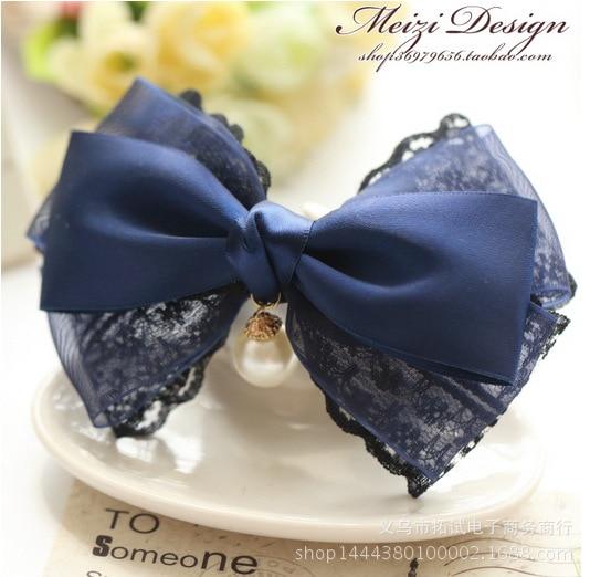 Korean high-end handmade bow hair clip new Korean hair accessories ribbon lace duckbill clip hair ring spring clip HDJ014