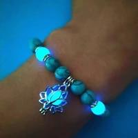 natural stone bracelet yoga healing luminous glow in the dark bracelet lotus charm beads bracelet for men women prayer buddhism