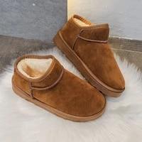 2020 women winter snow boots warm flat plus size platform slip on ladies womens shoes new flock fur suede ankle boots female