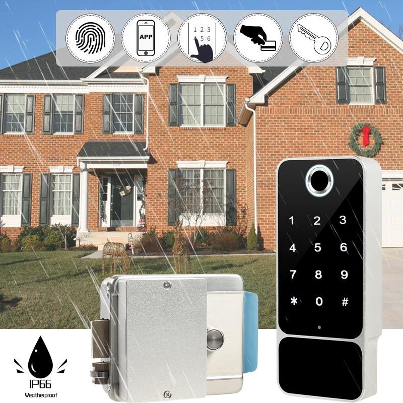 Review Rainpfoor Bluetooth Electronic Door Lock With TT Lock Mobil Phone APP Fingerprint Passcode Smart Card Outdoor Gate Entrance W5