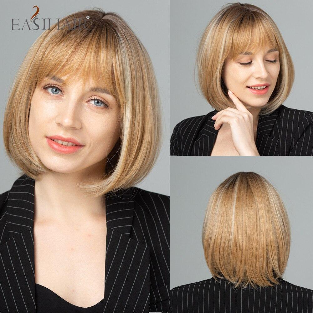 EASIHAIR-شعر مستعار صناعي قصير ناعم مع هامش ، شعر بوب ، جذور داكنة ، أشقر وبني ، مقاوم للحرارة ، للنساء