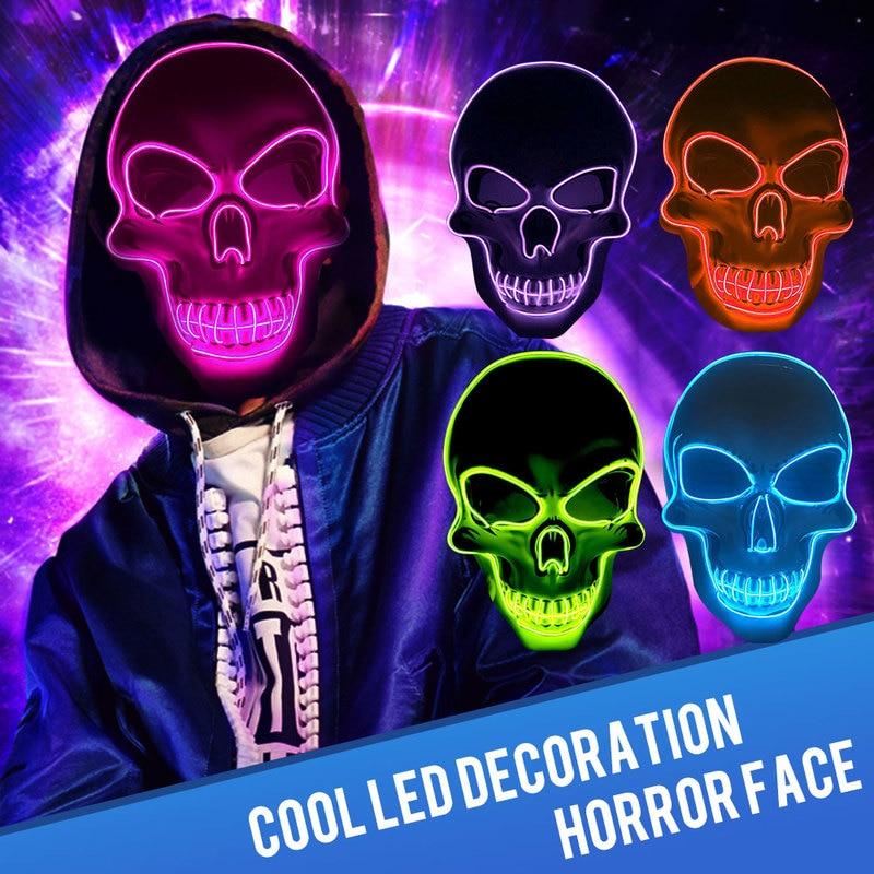 Halloween Neon Masks Glow In The Dark Maske Party Mascaras Horror Mascarillas Scary Carnival Masque Light Masker for LED Mask