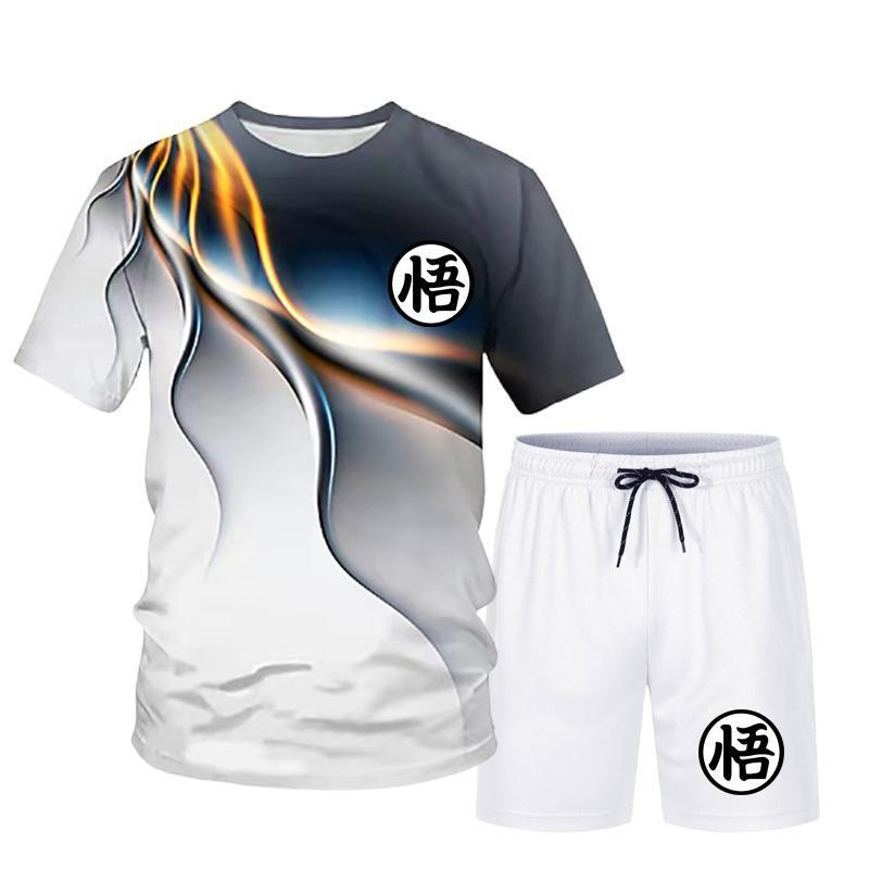 Новинка лета 2021, модный трендовый мужской спортивный костюм из футболки с коротким рукавом и 3D-принтом и спортивных шорт
