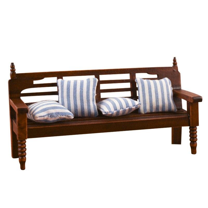 1/12 mini casa de muñecas artesanías de madera accesorios en miniatura retro modelo de silla multipersona con almohada para accesorios de muñeca «hágalo usted mismo»